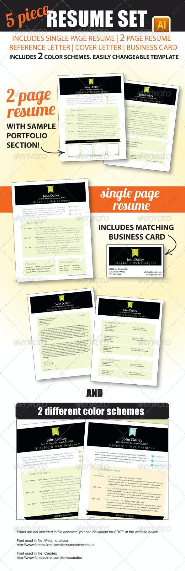 5 Piece Resume Set - Resumes Stationery