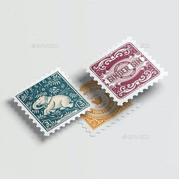Postage stamps mock up.