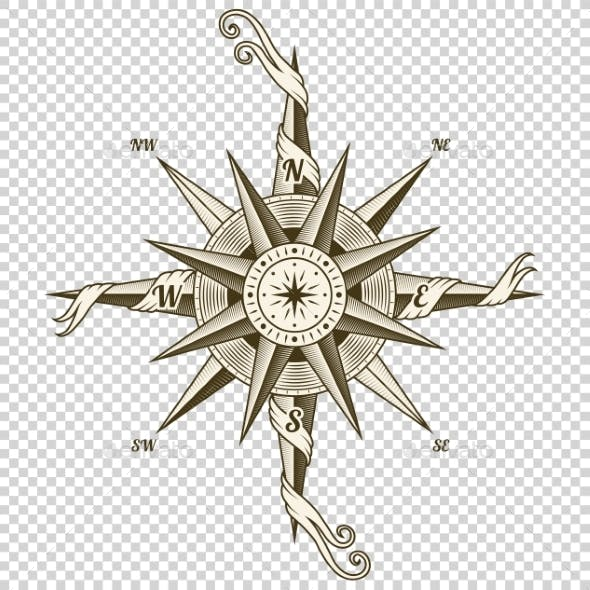 Vintage Nautical Compass. Old Vector Design