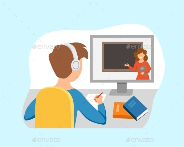 Boy Studying Online Education At Home Cartoon By Oligliya Graphicriver