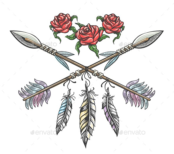Indian Arrows With Feathers And Rose Flowers Tattoo By Olena1983 Graphicriver