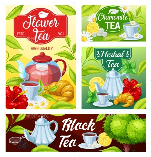 Tea Cup Of Black Green Herbal Beverage Banners By Buchandbee Graphicriver