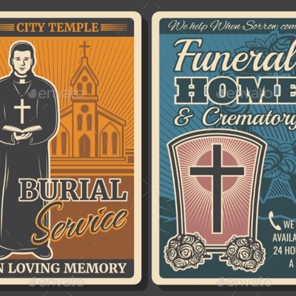 Funeral or Burial Service Retro Posters