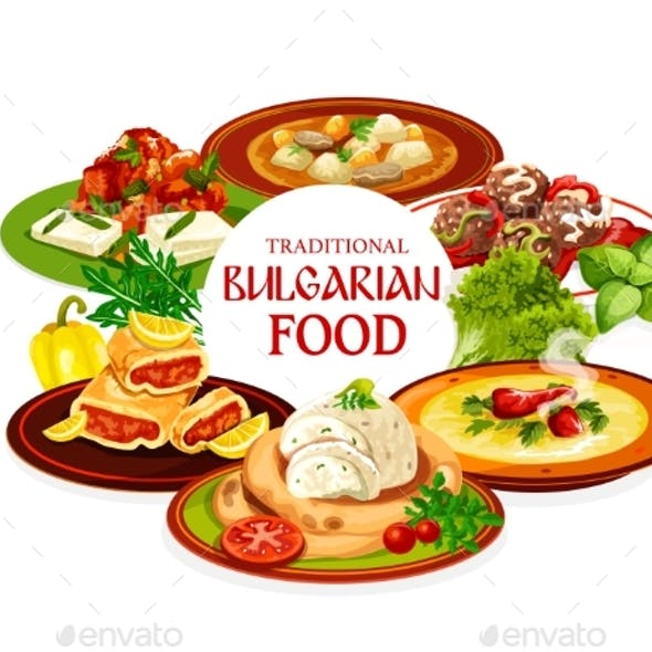 Bulgarian Food, Meat Vegetable Dishes with Cake