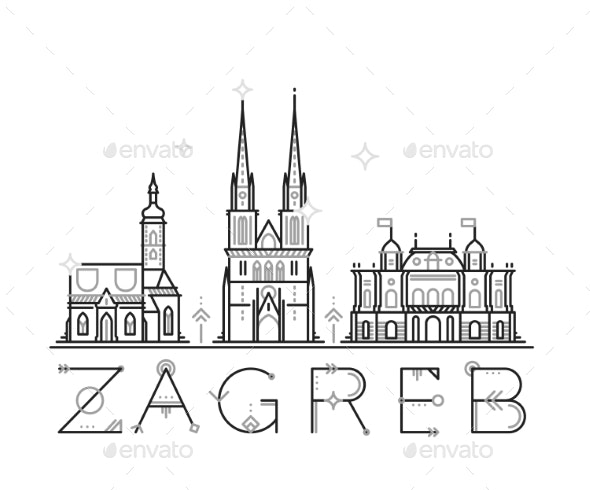 Skyline Zagreb, Croatia Vector City Buildings Line - Buildings Objects