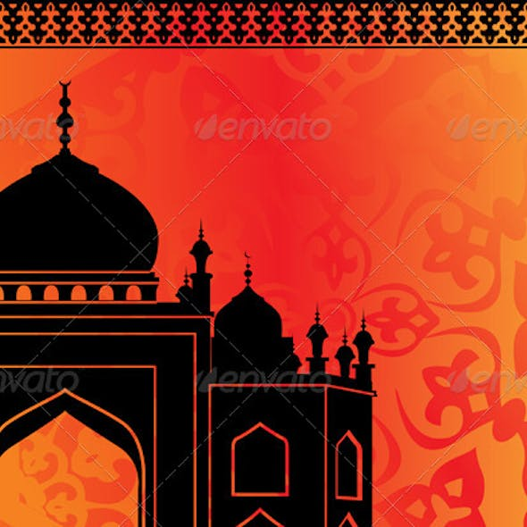 Islamic card with mosque