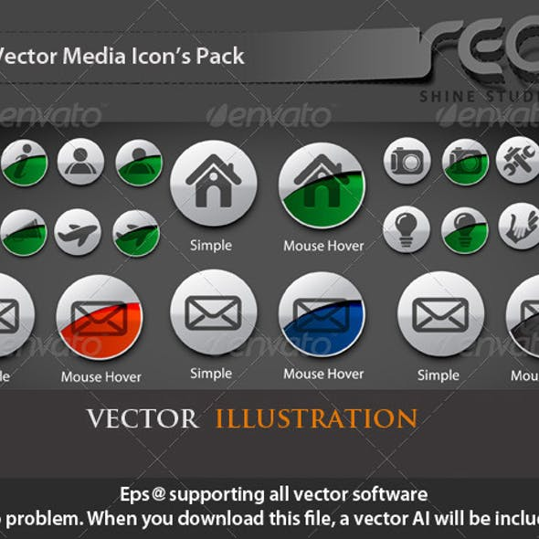 Mouse Hover Vector Icons Set