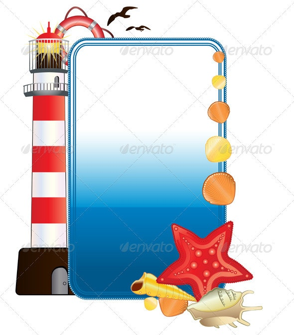 Sea postcard with lighthouse
