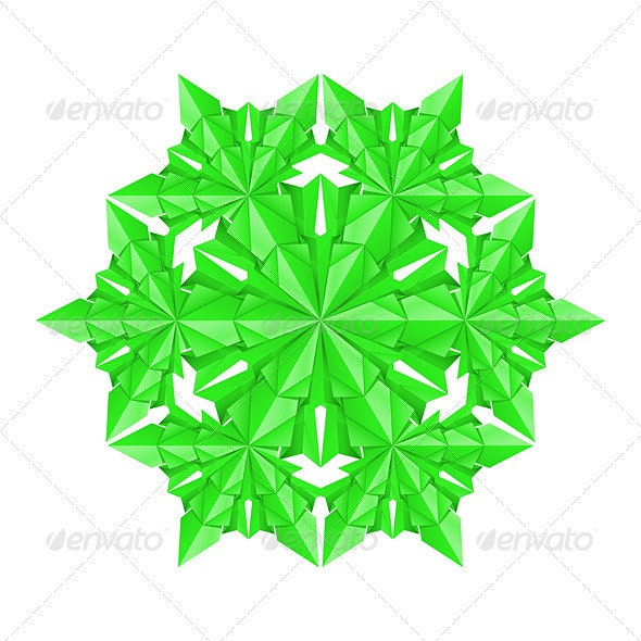 Green paper snowflake - Backgrounds Decorative