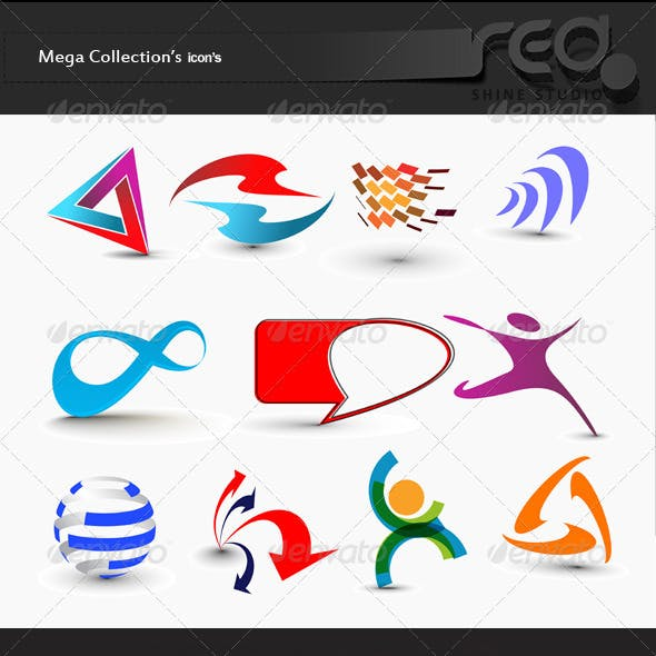Set of Modern 3d Vector Icon