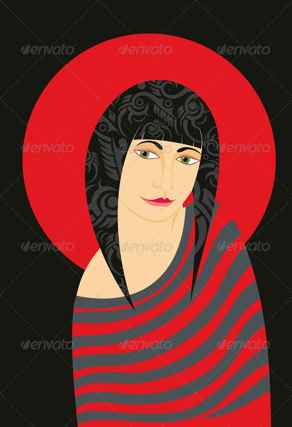 Girl Red Striped Dress - People Characters
