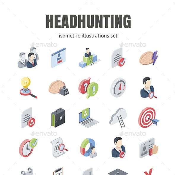 Headhunting illustrations set
