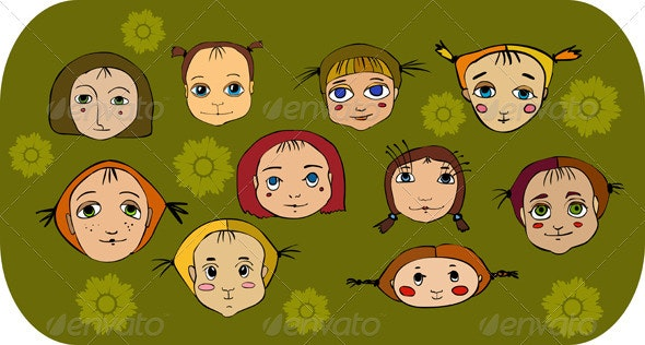 Girl Face Set - People Characters