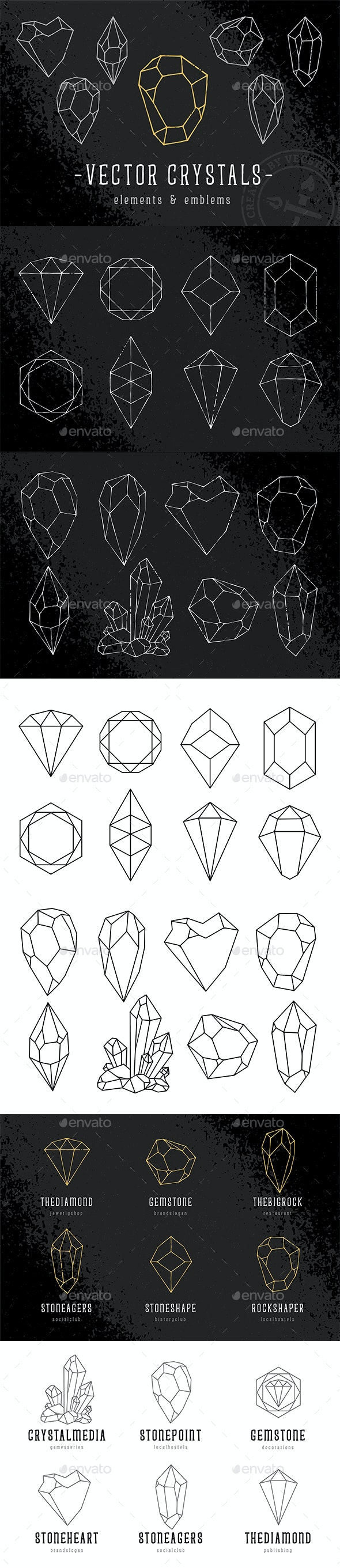Vector Crystals - Elements & Emblems - Decorative Symbols Decorative