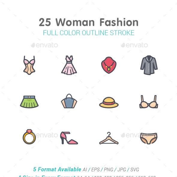Woman Fashion Line with Color