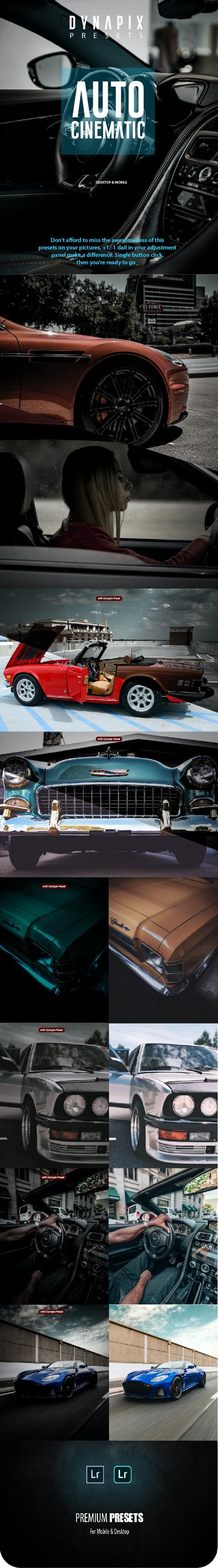 DYNAPIX Auto Cinematic Lightroom Mobile and Desktop Presets - Lightroom Presets Add-ons