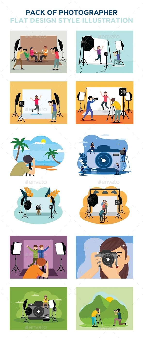 Pack of Photographer Flat Design Style - People Characters