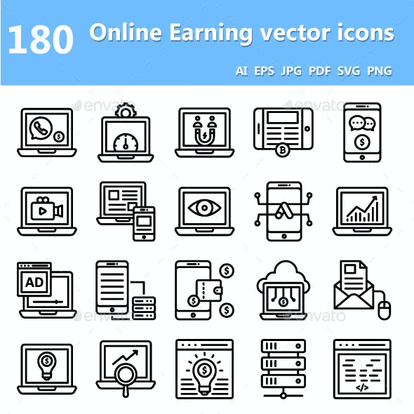 Online Earning Vector Icons
