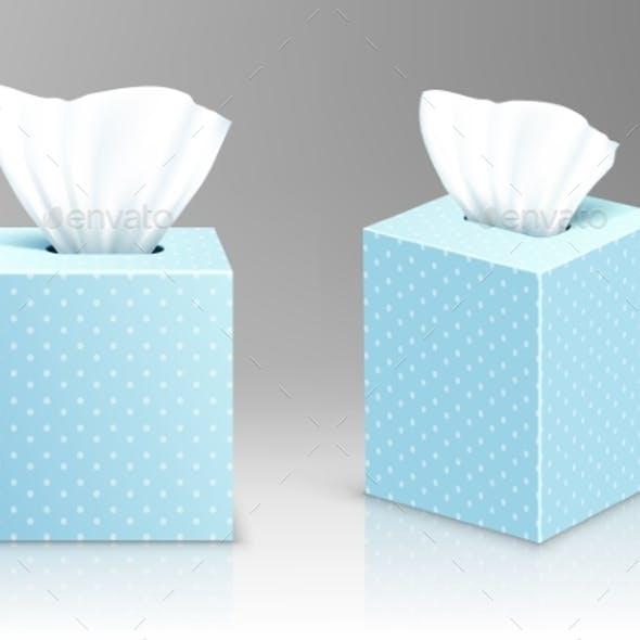 Paper Napkin Boxes Open Packages with Tissue Wipes