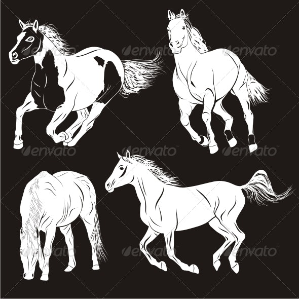 4 Horses - Animals Characters