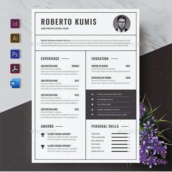 Monochrome Resume / CV Template