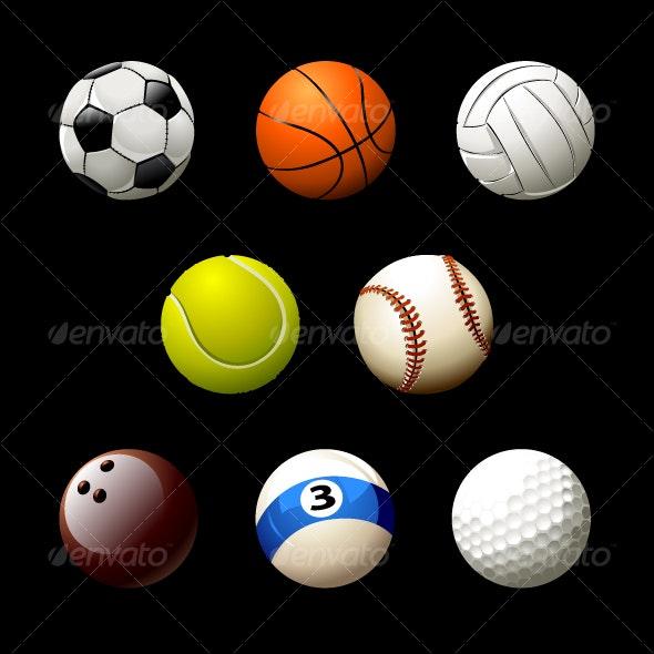 Set of realistic balls - Objects Vectors