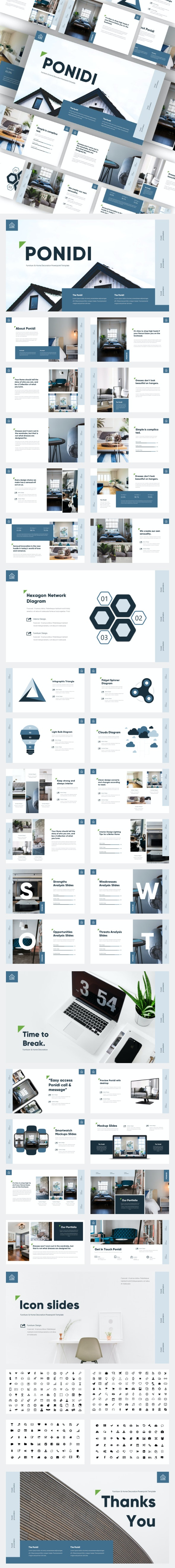Ponidi - Furniture & Home Decoration Powerpoint Template - Business PowerPoint Templates