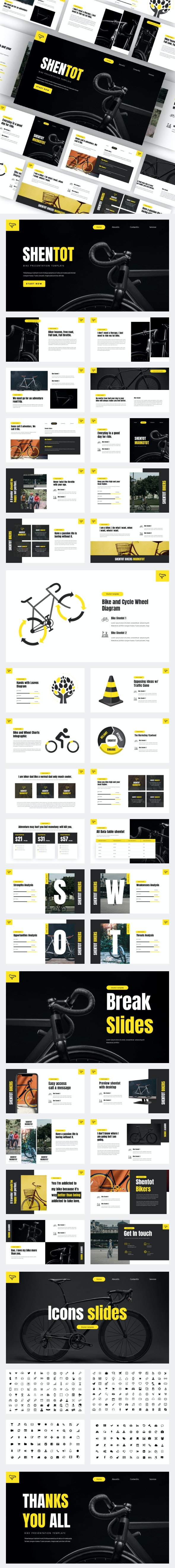 Shentot - Bicycle Sports Club Powerpoint Template - Business PowerPoint Templates