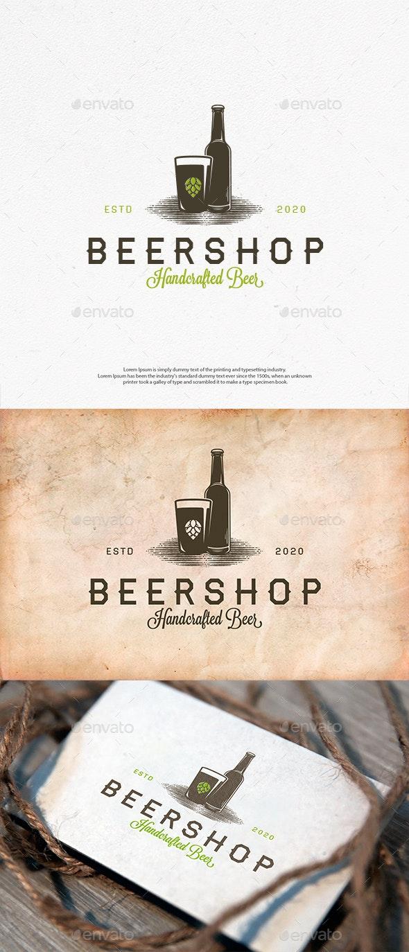 Beer Shop Vector Logo Template - Crests Logo Templates