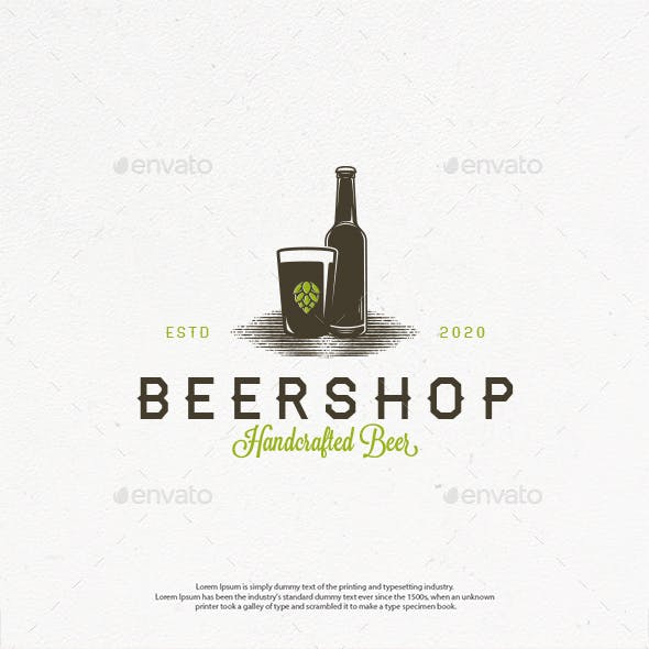 Beer Shop Vector Logo Template