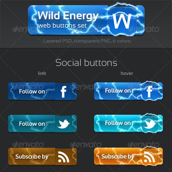 Wild Energy: Web Buttons Set