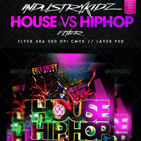House Vs HipHop Party Flyer