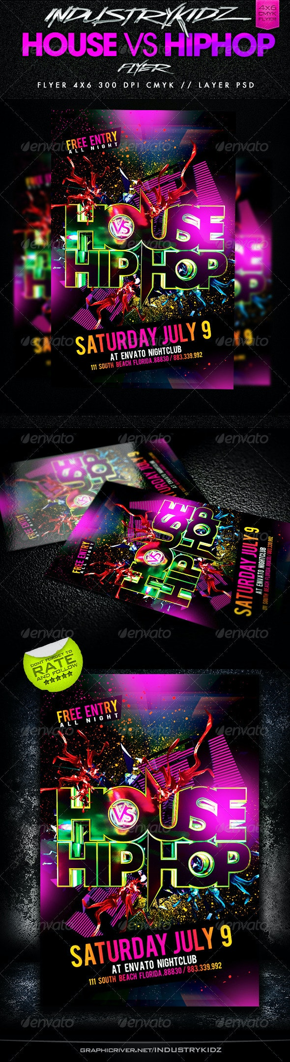 House Vs HipHop Party Flyer - Events Flyers