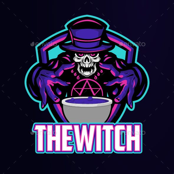 The Witch With Cauldron Potion Design Logo