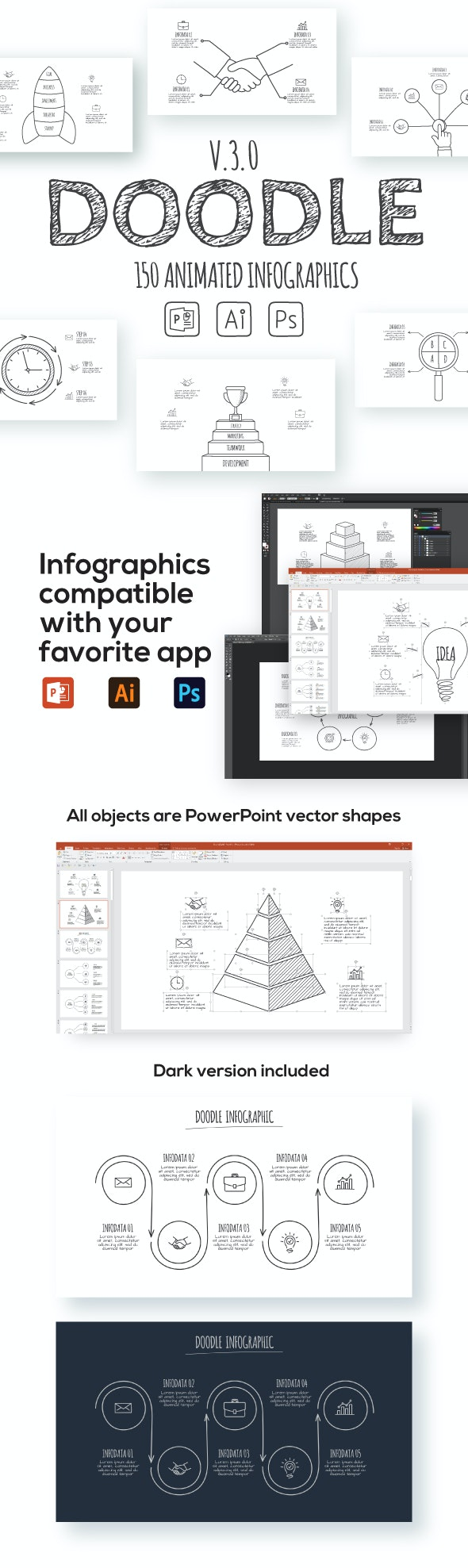 Doodle Animated Infographics Presentations v.3.0 - Abstract PowerPoint Templates