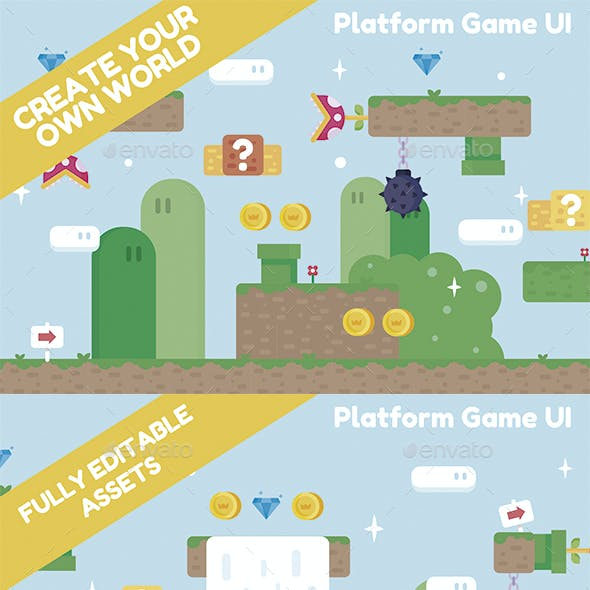Super M Platformer Tileset Game UI