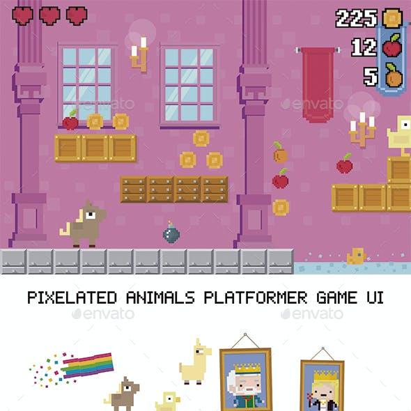 Pixel Animals Platformer Game UI
