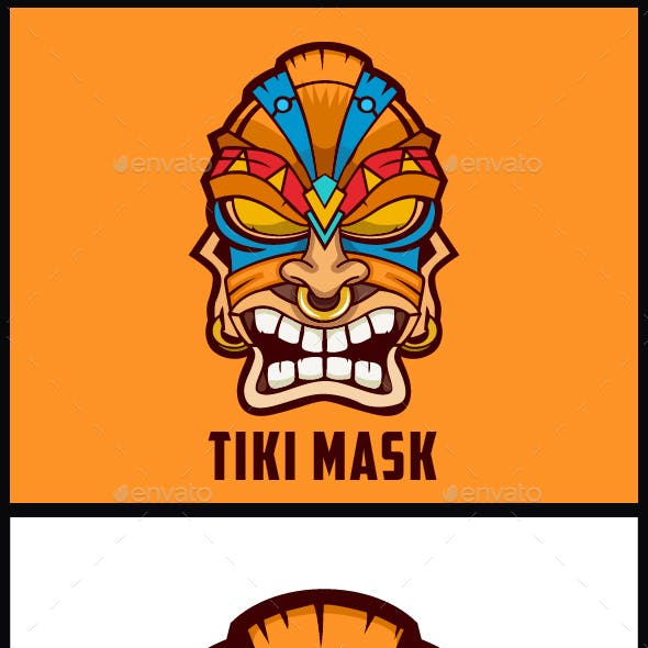 Tiki Mask Design Logo Template