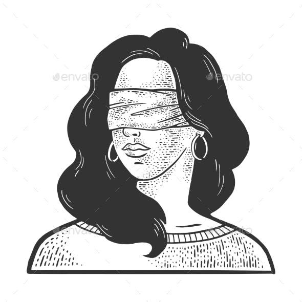 Blindfolded Girl Sketch Vector Illustration
