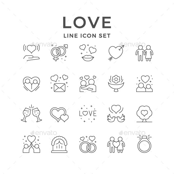 Set Line Icons of Love and Romance