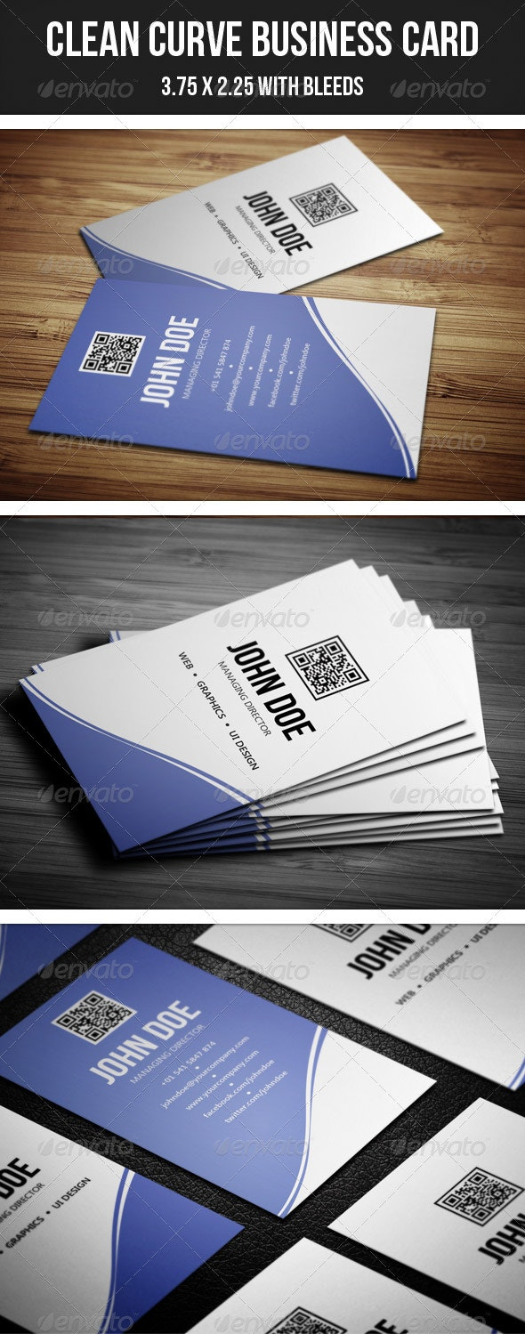 Clean Curve Business Card - 30 - Corporate Business Cards