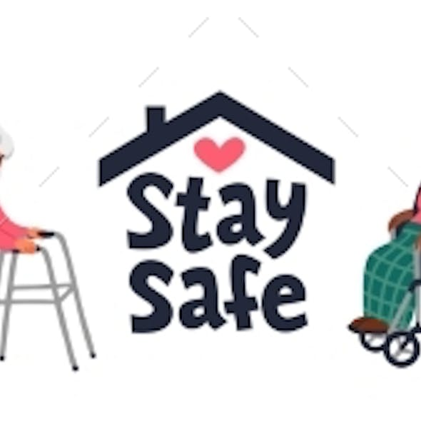 Senior Patient Protection, Stay Safe Concept. An