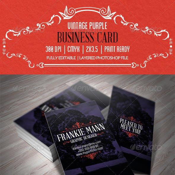 Vintage Purple Business Card