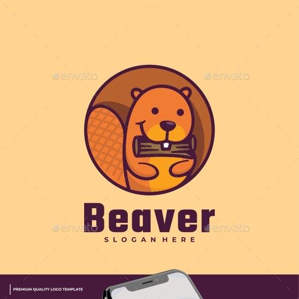 Beaver Mascot Cartoon Logo Template