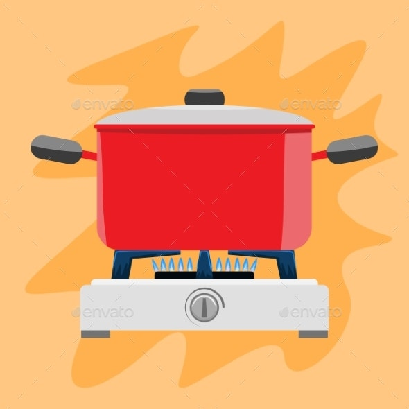 Cooking Pot on Gas Stove - Food Objects