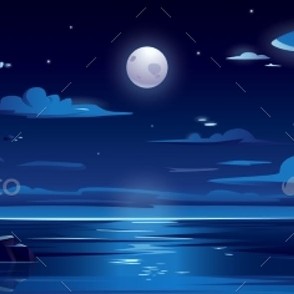 Night Landscape with Moon and Sea