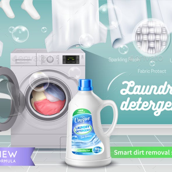 Laundry Detergent Realistic And Colored Banner