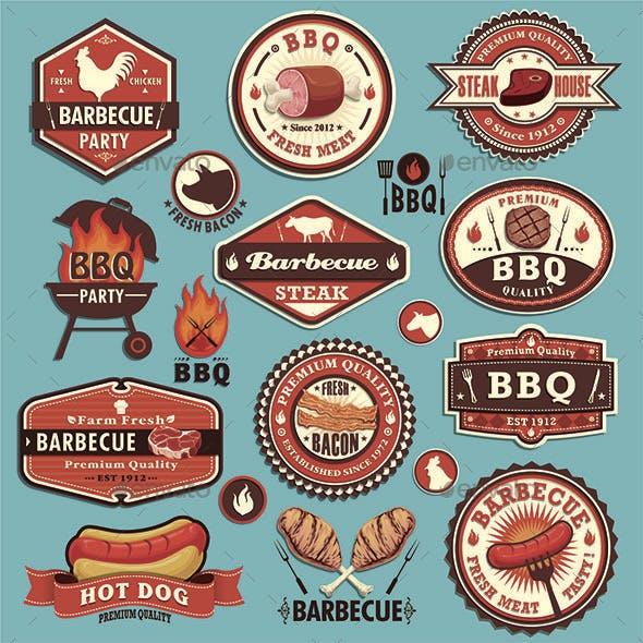 Vintage BBQ Seafood and Steak Labels
