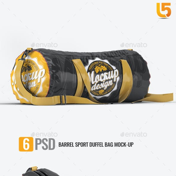 Barrel Sport Duffel Bag Mock-Up