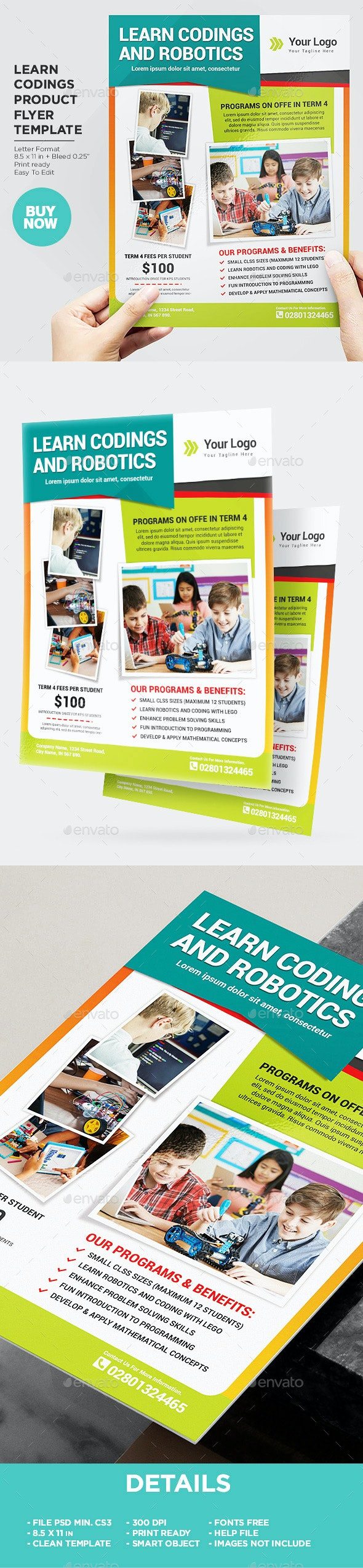 Kids Education Flyer Learn Coding & Robotic - Corporate Flyers